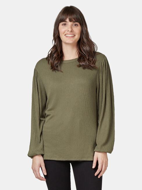 Leah Textured Top, Green, hi-res