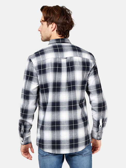 Xander Long Sleeve Check Shirt, Black, hi-res