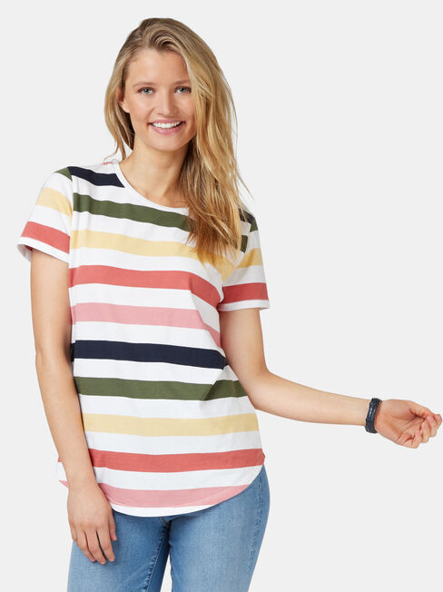 Essential Crew Neck Tee, Multi Stripe, hi-res