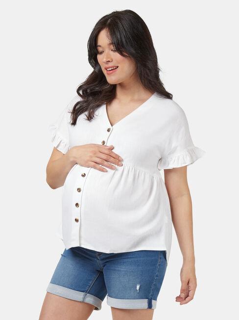 Connie Maternity Button Through Top, White, hi-res