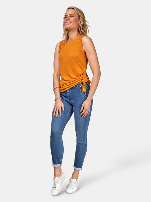 Savannah Rouched Tank, Yellow, hi-res