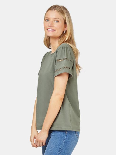 Summer Frill Sleeve Tee, Green, hi-res