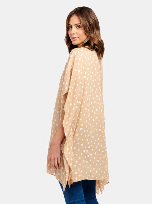 Polly Printed Kimono, Brown, hi-res