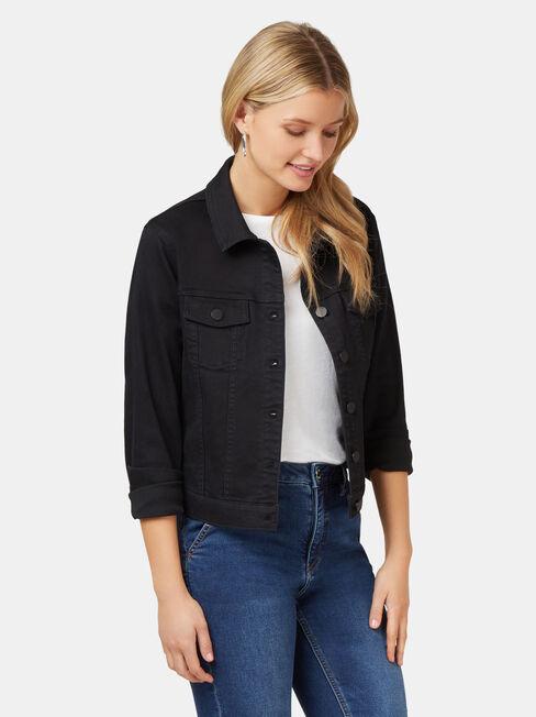 Classic Stretch Denim Jacket, Black, hi-res