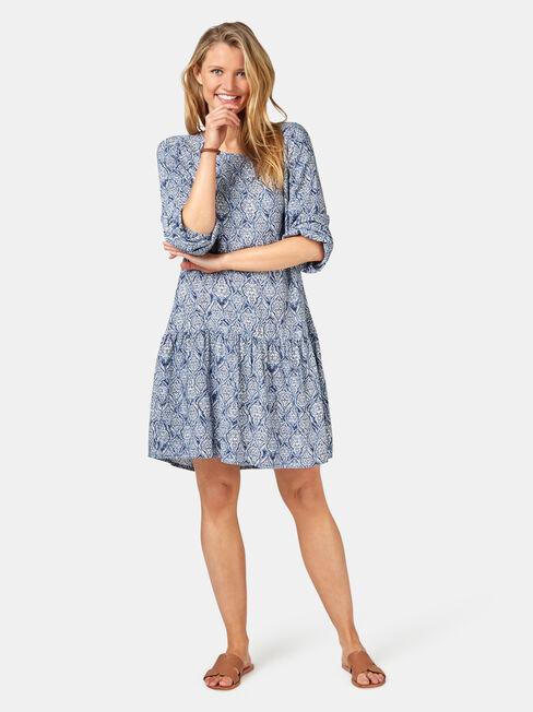 Emilia Tiered Dress, Black, hi-res