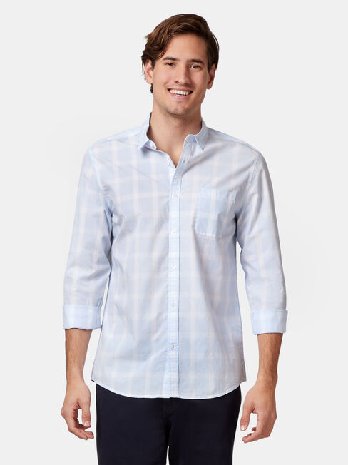 Jaxton Long Sleeve Check Shirt, Blue, hi-res