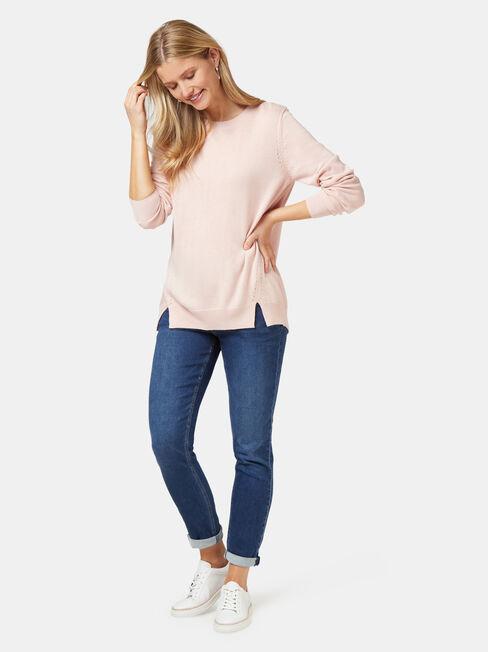 Aspen Essential Curve Hem Pullover, Pink, hi-res